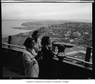 Skiers Felicity Field, Theres Obrecht and Edith Zimmerman at the top of the Space Needle, Seattle,...