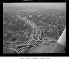 Aerial of freeway construction, Seattle, 1967