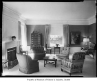Home of University of Washington President Charles Odegaard, interior view of the living room,...