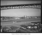 Aurora Bridge and Wallingford neighborhood from south side of Lake Washington Ship Canal, Seattle,...