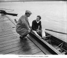 Al Ulbrickson , University of Washington crew coach, with Captain Curly Harris, Seattle, 1931
