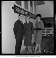 Gregory A. Falls, Mrs. Iverson and Mrs. Dolan on deck of the Showboat Theatre reopening, Seattle,...