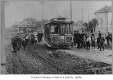 Madison Street cable car off its track, Seattle, n.d.