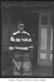 Harry Holmes in hockey gear, Seattle, ca. 1920