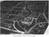 Aerial of Franklin High School and Mount Baker neighborhood looking south, Seattle, May 31, 1932