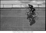 Cyclists riding in Marymoor Park velodrome, Redmond, April 25, 1987