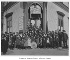 Band and others in front of Salvation Army, Seattle, n.d.