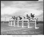 Hurdle racing at the University of Washington, Seattle, May 1936