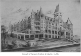 Artist's rendering of Denny Hotel, Seattle, ca. 1890