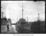 Navy ship in Ballard locks, Seattle, ca. 1924
