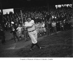 Babe Ruth batting in Dugdale Park, Seattle, October 19, 1924