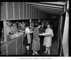 Food line at Camp Harmony, Puyallup, 1942