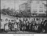 Third graders outside University Heights School, Seattle, 1920