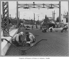 Workers redecking Montlake Bridge, Seattle, n.d.