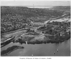 Aerial of Montlake neighborhood during construction of State Route 520, Seattle, April 1963