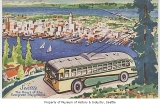 Bus at West Seattle viewpoint, Seattle, ca. 1947