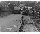 Earthquake damage on Spokane Street, Seattle, April 13, 1949