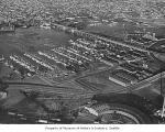 Aerial of Fishermen's Terminal from southwest, Seattle, 1950