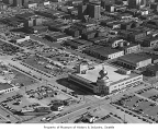 Aerial looking southwest showing Post-Intelligencer building, Seattle, 1953