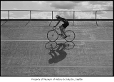 Cyclist riding in Marymoor Park velodrome, Redmond, April 25, 1987