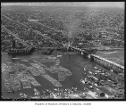 Aerial of Ballard Bridge and Salmon Bay from south, Seattle, 1940