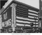 War bonds sign and flag at Frederick & Nelson, Seattle, ca. 1943