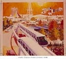 Artist's rendering of monorail, Seattle World's Fair, ca. 1962