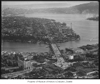 Aerial of University Bridge and Eastlake neighborhood from north, Seattle, 1946