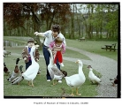Family feeding birds at Chateau Ste. Michelle winery, Woodinville, August 1, 1986