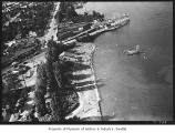 Aerial of Madison Park bathing beach and ferry dock from south, Seattle, June 27, 1939