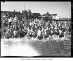 Children splashing in water at Madison Park, Seattle, 1936