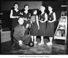 Lindquist women's bowling team with their championship trophy, probably in Seattle, n.d.