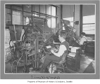 Workers on linotype machines at Lowman & Hanford, Seattle, n.d.