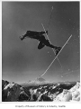 University of Washington ski team member about to crash, Alpental, 1976