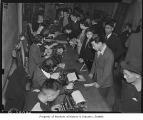 Japanese Americans registering for evacuation, Seattle, 1942