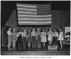 Bailey Gatzert School students salute flag, Seattle, May 18, 1943