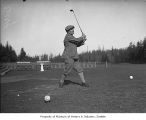Albert S. Kerry playing golf, probably at the Seattle Golf Club, The Highlands, ca. 1925