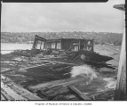 Lake Union houseboats damaged by storm, Seattle, October 21, 1945