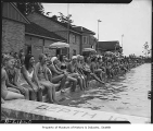Group at Colman Pool for West Seattle Commercial Club picnic, Seattle, July 27, 1947