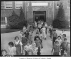 Students leaving Olympic View School, Seattle, 1939