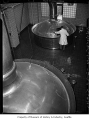 Brew kettles at Rainier Brewery, Seattle, 1949