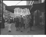 Female employees picketing Frederick & Nelson, Seattle, 1946