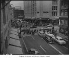 Christmas shoppers at Fifth and Pine, Seattle, 1954