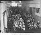 T.T. Minor School students in hallway due to overcrowding, Seattle, 1939