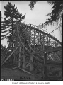 Safety patrol members on Dipper wooden roller coaster at Playland Amusement Park, Bitter Lake, May...