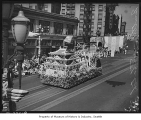 Japanese Chamber of Commerce float in Potlatch parade on Second Avenue, Seattle, 1939