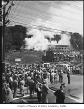Crowd gathered after plane crash at Lester Apartments, Seattle, August 13, 1951