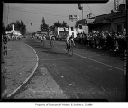 Spectators and cyclists at Redmond Bicycle Derby, Redmond, August 23, 1947