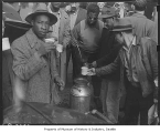 Maritime strikers drinking coffee, Seattle, October 30, 1946