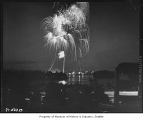 Independence Day fireworks over Green Lake, Seattle, July 4, 1947